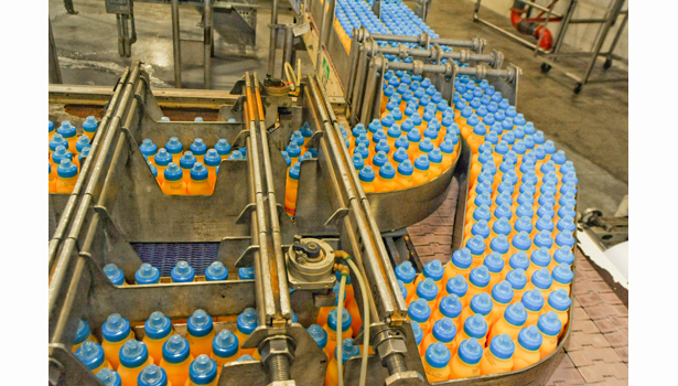 SunnyD travel on conveyors to the case packer