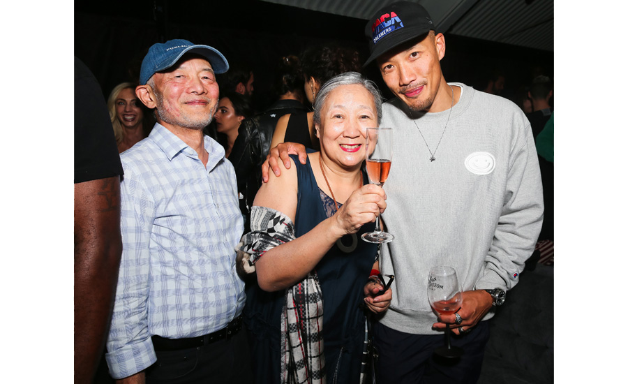 Dai-Yi Chow and his parents celebrate the Moët & Chandon x Public School collaboration and launch of the Limited-Edition Moët & Chandon x Public School Bottle.