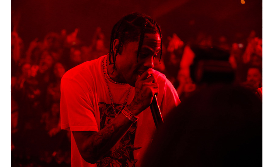 Moët & Chandon x Public School collaboration launch party surprise performance by Travis Scott.