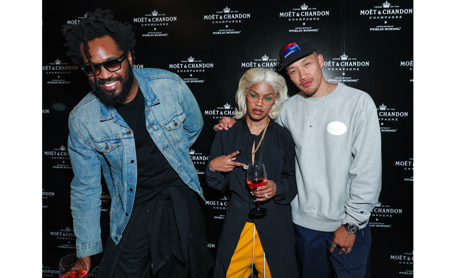 Public School Designers Maxwell Osborne and Dao-Yi Chow with Teyana Taylor at the Moët & Chandon x Public School collaboration launch celebration.