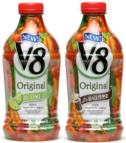V8 Hint of Lime and V8 Hint of Black Pepper