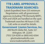 TTB LABEL APPROVALS-TRADEMARK SEARCHES: