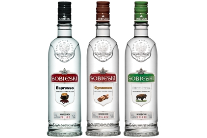 Sobieski Espresso, Cynamon and Bizon Grass vodkas