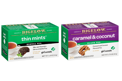Bigelow Thin Mints and Caramel and Coconut teas