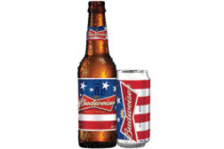 Budweiser red white and blue