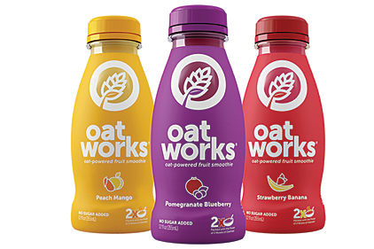 OatWorks oat-powered fruit smoothie bottles