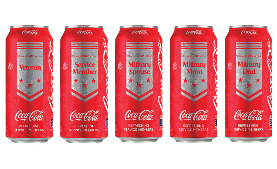 Coke cans honoring service members
