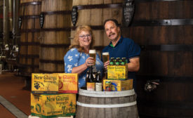 Pictured left to right: Deb Carey, Founder and President of New Glarus Brewing Co., and Daniel Carey, a Diploma Master Brewer. - Beverage Industry