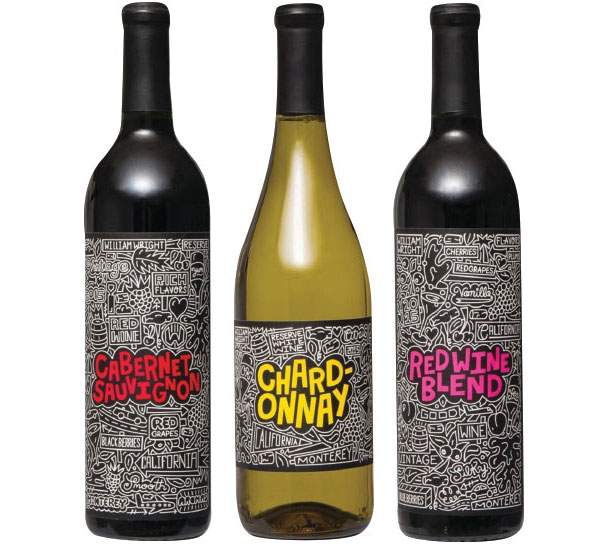 Aldi expanded its wine selected and partnered with artist Timothy Goodman. Comprised of a Chardonnay, a Cabernet Sauvignon and a Red Wine Blend, the limited-edition reserve collection features Goodman's hand-illustrated style across its labels. (Image courtesy of Aldi Inc.) - Beverage Industry