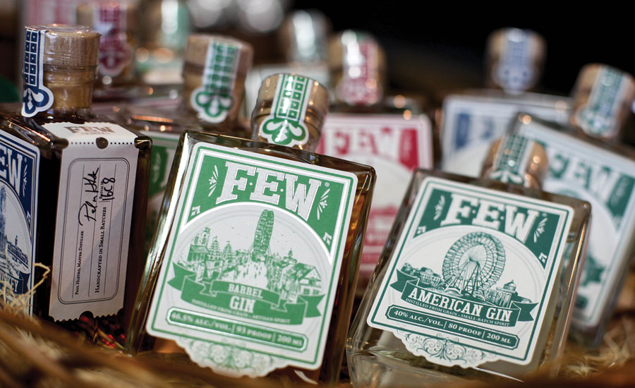 FEW Spirits' packaging features iconography from the 1893 Chicago World's Fair, including the world's first Ferris wheel, the Statue of the Republic and the world's first electric water fountain. (Image courtesy of FEW Spirits LLC) - Beverage Industry