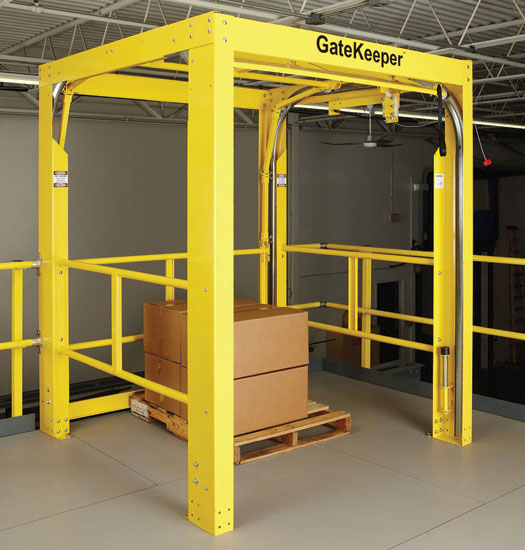 As buildings grow taller, safety is a priority. Rite-Hite offers its GateKeeper Safety Gate as a solution for safety on elevated storage solutions. (Image courtesy of Rite-Hite)- Beverage Industry