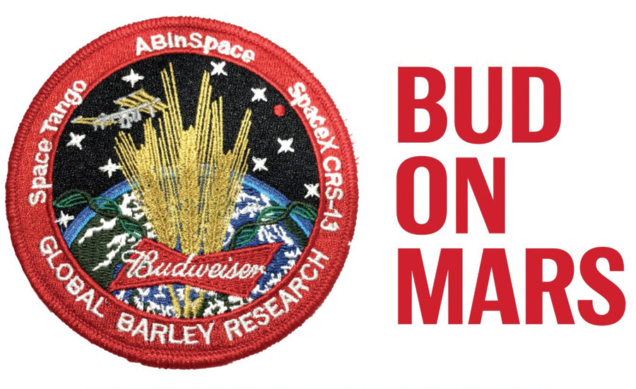 Budweiser sent barley to the International Space Station last month - Bud on Mars Logo - Beverage Industry