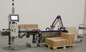 Gebo Cermex CoboAccess Pal robotic palletizer. - Beverage Industry