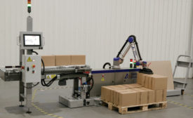 Gebo Cermex CoboAccess Pal robotic palletizer. - Beverage Industry