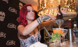 "Mixologist Tara Jagodzinski mixes her award-winning cocktail, ""The Spaisi Ginger"". - Beverage Industry"
