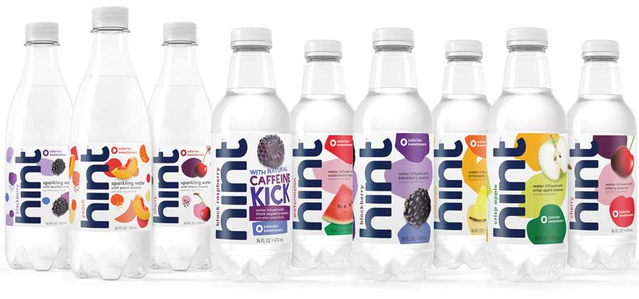 Hint offers a portfolio of 27 SKUs of premium 100 percent, all natural flavored waters with zero sweeteners, no calories and no preservatives in three core lineups: hint still, hint sparkling and hint kick. - Beverage Industry