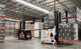 AGV usage in a beverage warehouse.