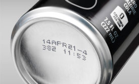 Aluminum can packaging with inkjet code.