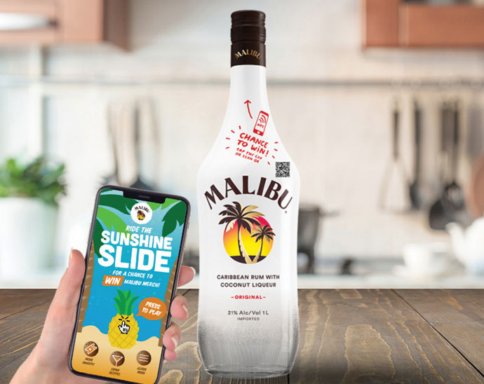 Malibu Rum's Connected Bottle integrates NFC technology in the cap of the bottle and a QR code printed on the bottle neck.