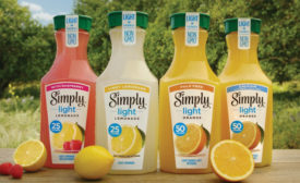 Simply Beverages launched a new Simply Light line in four flavors: Simply Light Orange Pulp Free, Simply Light Orange with Calcium & Vitamin D, Simply Light Lemonade, and Simply Light Lemonade with Raspberry. - Beverage Industry