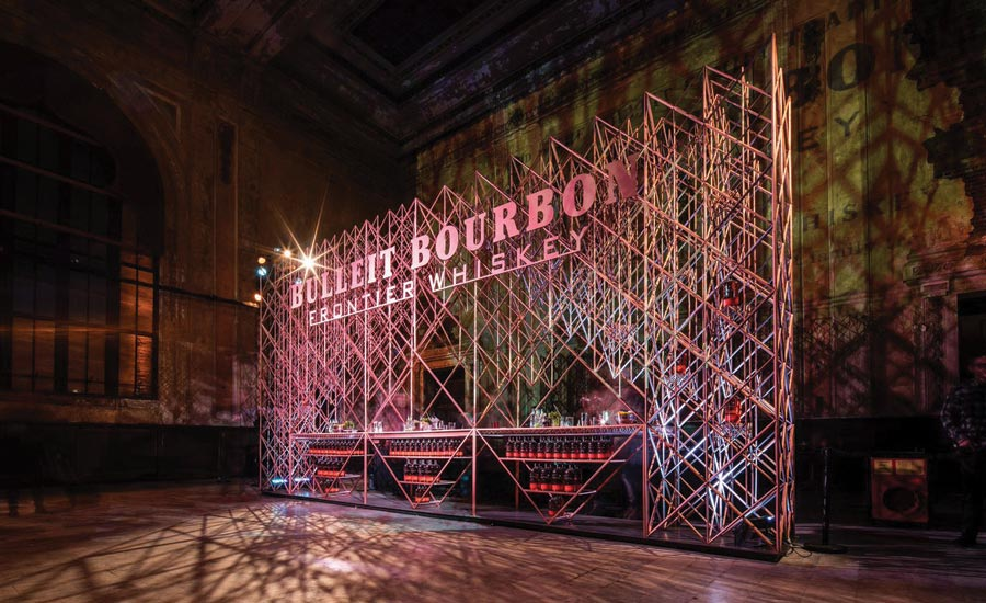 Bulleit Frontier Whiskey's 3-D printed bar at the Tribeca Film Festival. - Beverage Industry