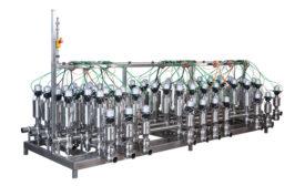 Trans-Market mix-proof valve manifold skid designed with 3-D modeling. - Beverage Industry