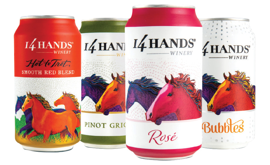 14 Hands canned wine.