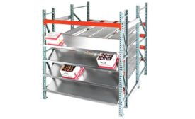 UNEX carton flow and storage shelving.