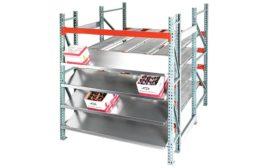 UNEX carton flow and storage shelving.